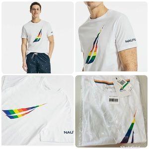 NAUTICA | Men's Pride Logo White Graphic T-Shirt